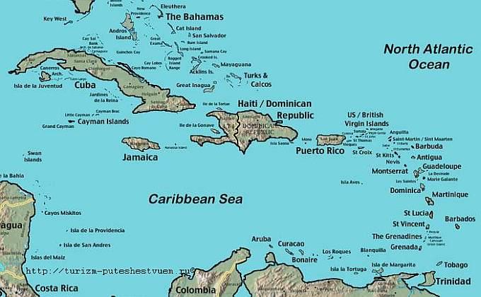Антильские острова на карте