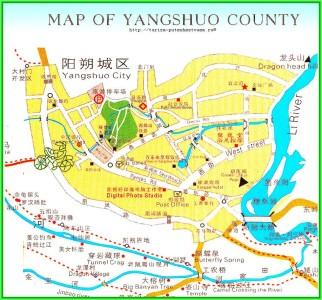 Живописно раскинувшийся среди известняковых скал над водами реки Лицзян город  Яншо - карта города с достопримечательностями