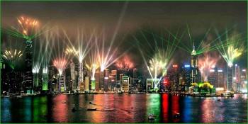 Световое Шоу в октябре в Гонконге фото