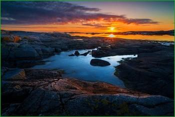 фото норвежской природы - восход солнца над фьордами