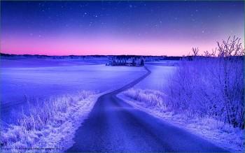 Природа Норвегии - зимняя дорога посреди полей - фото
